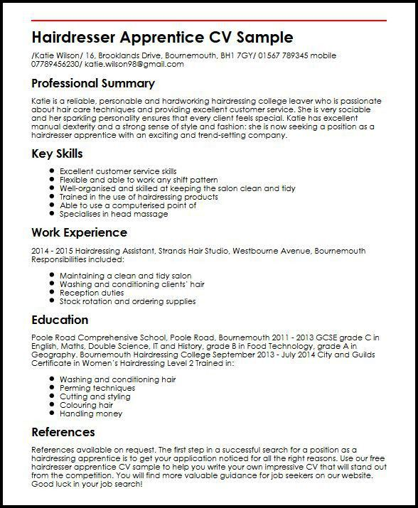Hairdresser Apprentice CV Sample| MyperfectCV