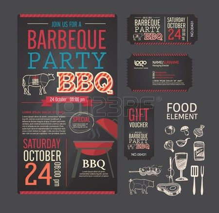 Barbecue Party BBQ Template Menu Design Set. Name Card, Gift ...