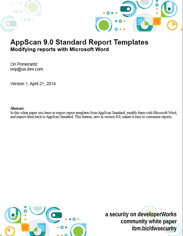 Security on developerWorks : AppScan 9.0 Standard Report Templates ...