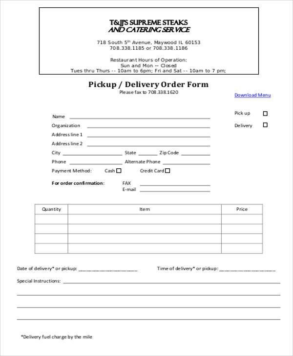 Sample Delivery Order Form - 9+ Examples in Word, PDF
