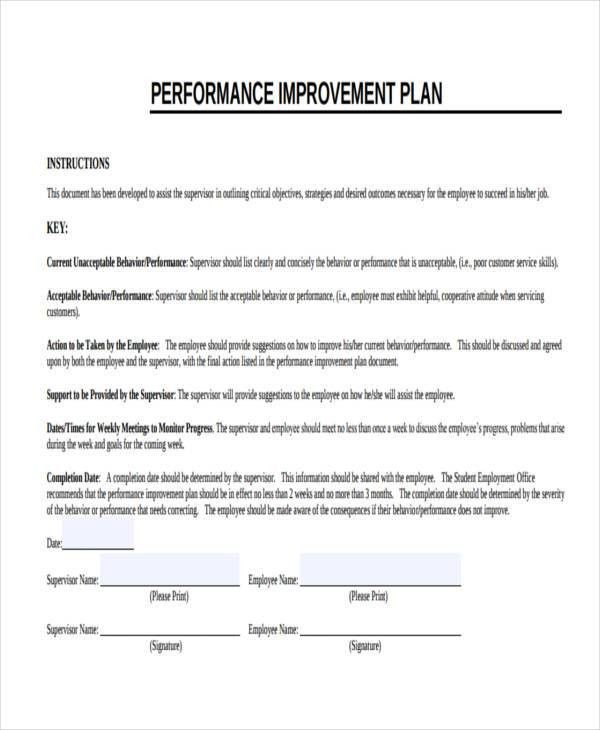 9+ Performance Improvement Plan Examples, Samples