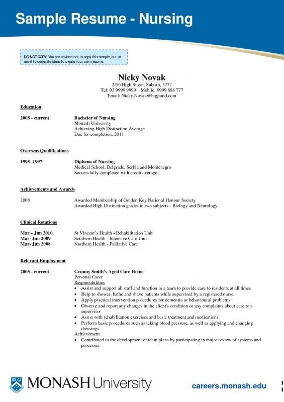 nursing student resume template example student nurse resume free