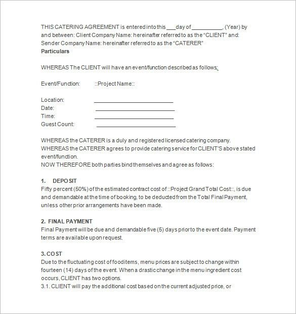 6+ Catering Contract Templates – Free Word, PDF, Documents ...