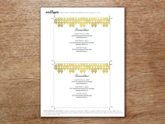 Wedding Information Card Enclosure Card Template by empapers