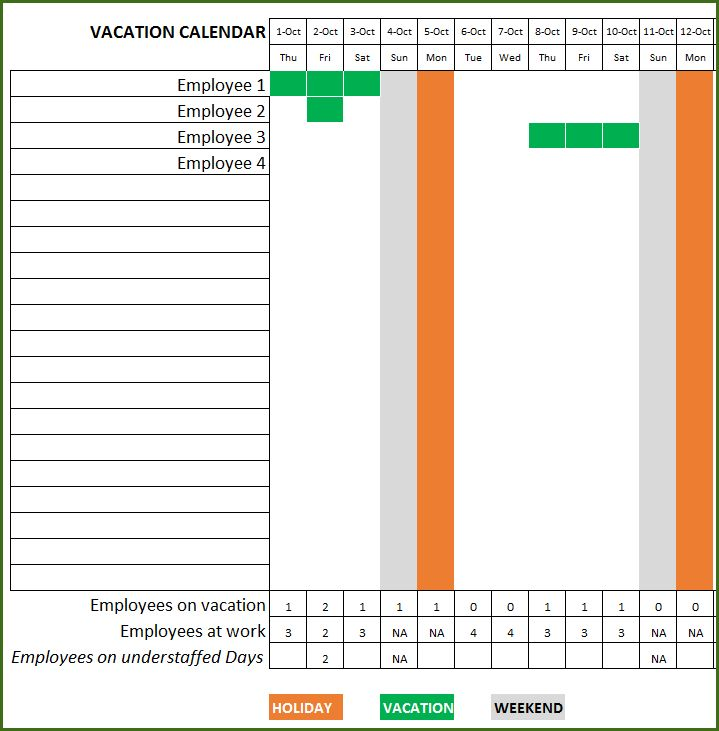 Employee Vacation Planner - Free HR Excel Template for Managers