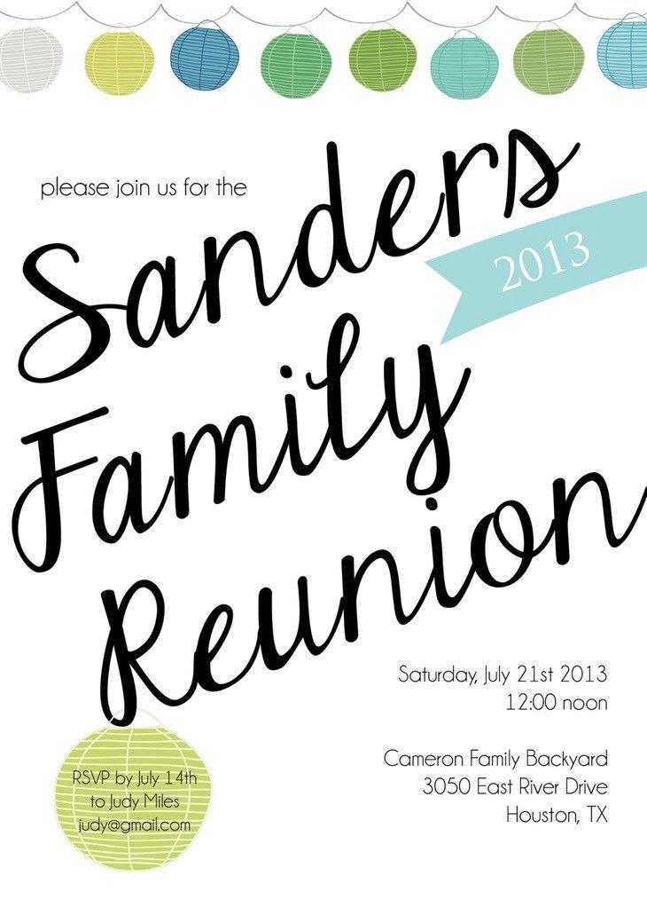 Family Reunion Invitation Templates | Belcantofour