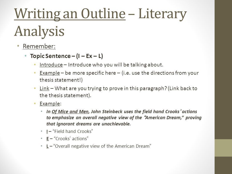 English III – Of Mice and Men Literary Analysis – Outline (I – Ex ...