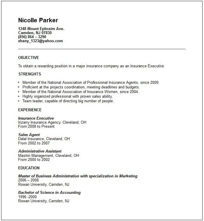 Insurance customer service resume