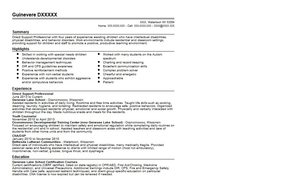 Direct Support Professional Resume Sample | Quintessential LiveCareer