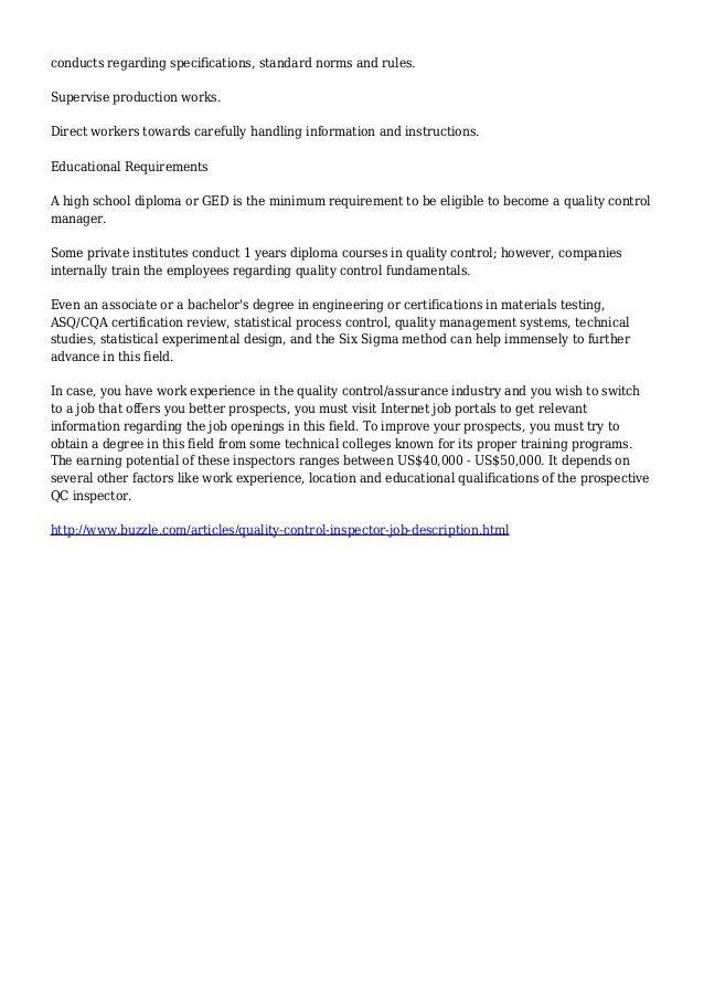 Quality Control Inspector Job Description