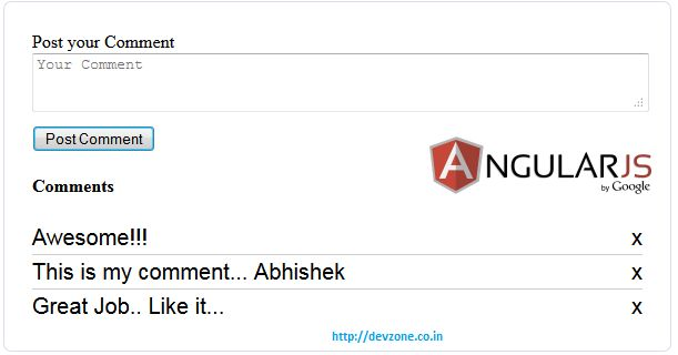 AngularJs Example: Simple User Comment box - devzone.co.in