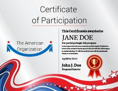 Certificate of Participation implementing a bold and fresh design ...