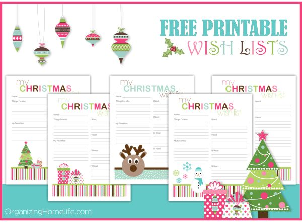 Free Printable Christmas Wish Lists - Organizing Homelife