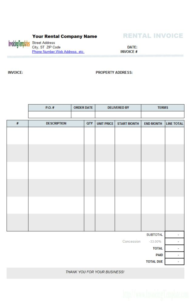 Professional Blank Invoice Template for Microsoft Word and PDF ...