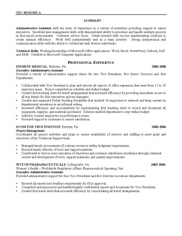Resume Samples For Administrative Assistant Position | Samples Of ...