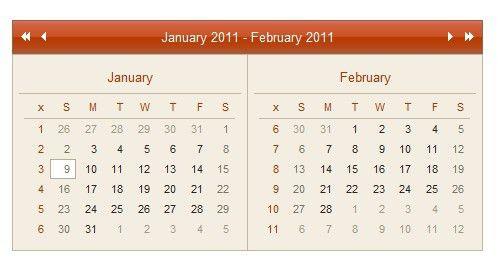 Ajax Calendar Example - AjaxCalendar - Pure JavaScript |Javascript ...
