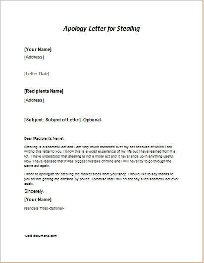 25 Apology Letter Sample Templates for MS WORD | Document Templates