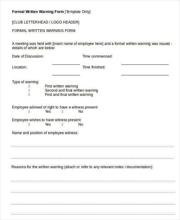 Written Warning Template - 9+ Free PDF, Word Documents Download ...