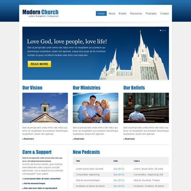 clean and effective church website template design psd at ...