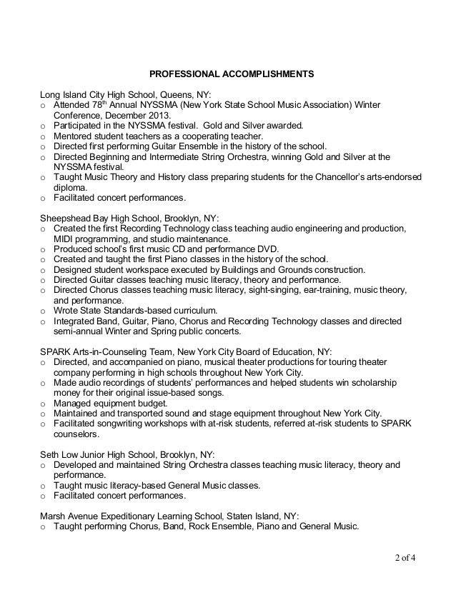 music teacher resume