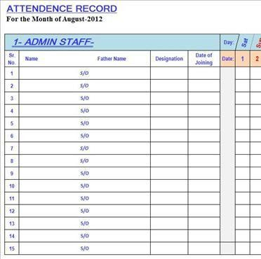 Best Attendance Sheet in Excel