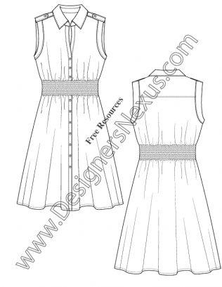 V34 Muscle Sleeve Shirtdress Fashion Flat Sketch Template Illustrator