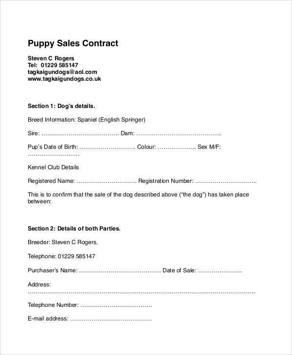 Sample Puppy Sales Contract - 7+ Examples in Word, PDF