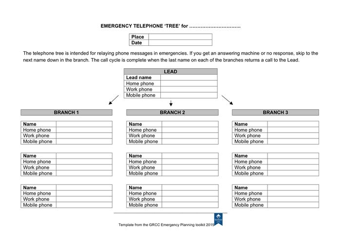 Emergency telephone tree form in Word and Pdf formats
