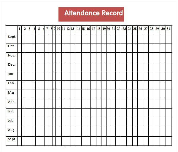 Attendance Record for Clubs, Church and Sunday School Attendance
