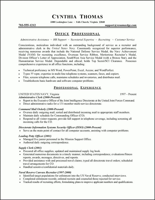 Military Resume Example - Sample Military Resume