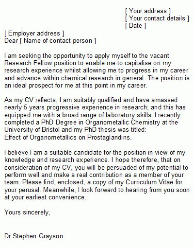 Chemist Cover Letter Sample