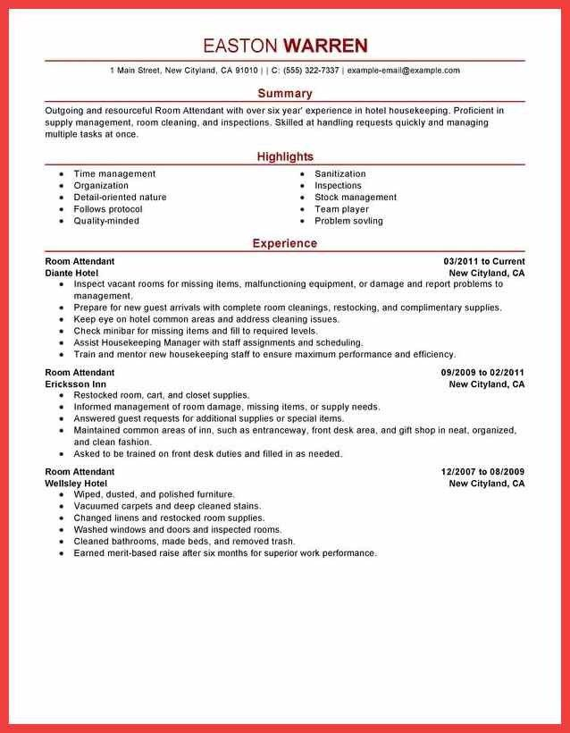 housekeeping skills resume | memo example