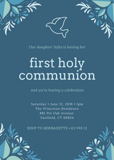Blue Elegant First Communion Invitation - Templates by Canva