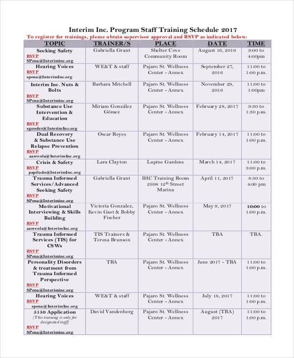 7+ Employee Training Schedule Templates - Free Sample, Example ...