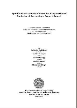 CIVIL B Tech Projects - IIT Kanpur