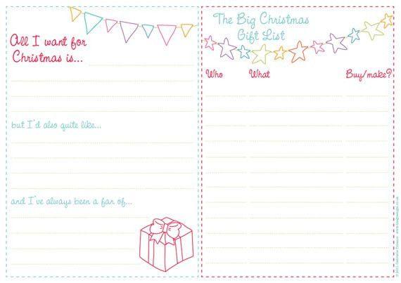 Free printable Christmas wish lists | the green gables blog