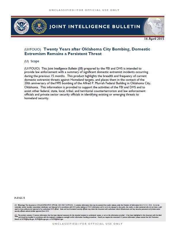 U//FOUO) DHS-FBI Bulletin: Twenty Years After Oklahoma City ...