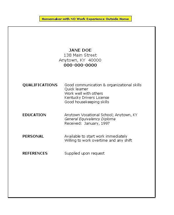 Resume Examples No Work Experience [Template.billybullock.us ]