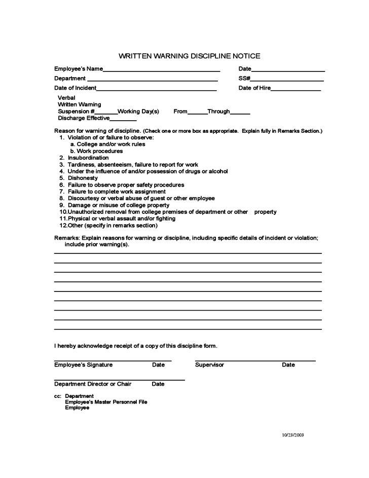 Written Warning Discipline Notice Free Download