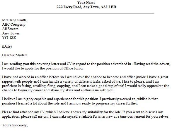Office Junior Cover Letter Example - lettercv.com
