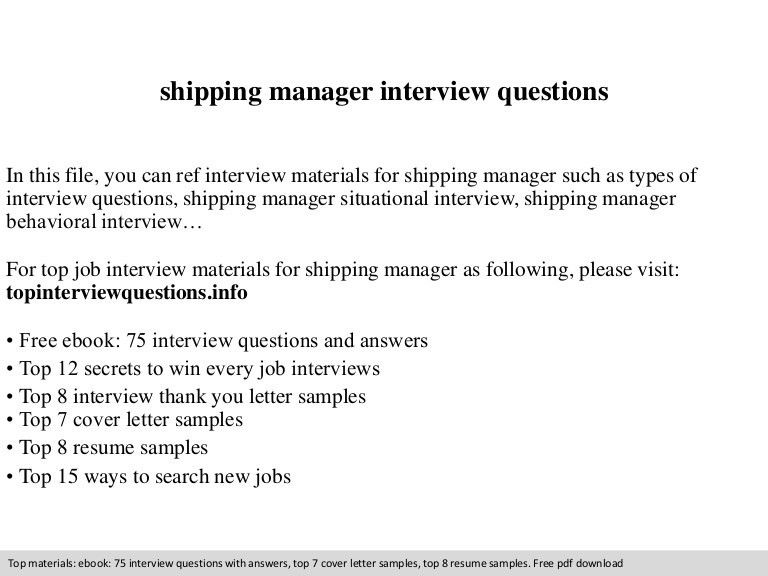 Shipping manager interview questions