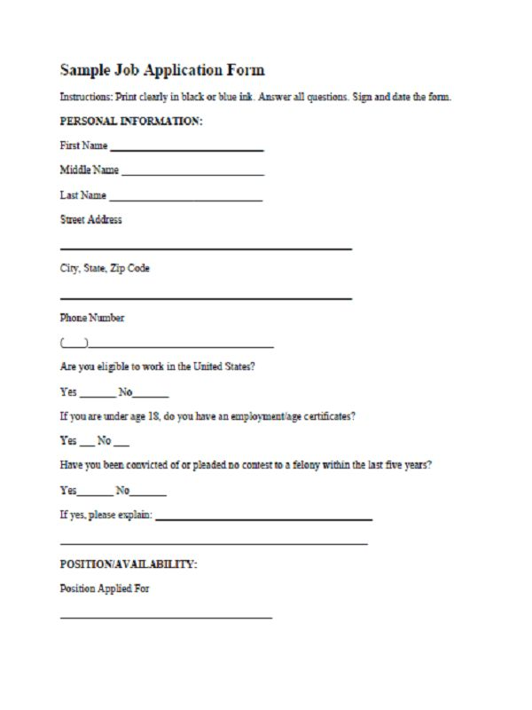 Simple And Easy To Use Job Application Form Template For Ms Word ...