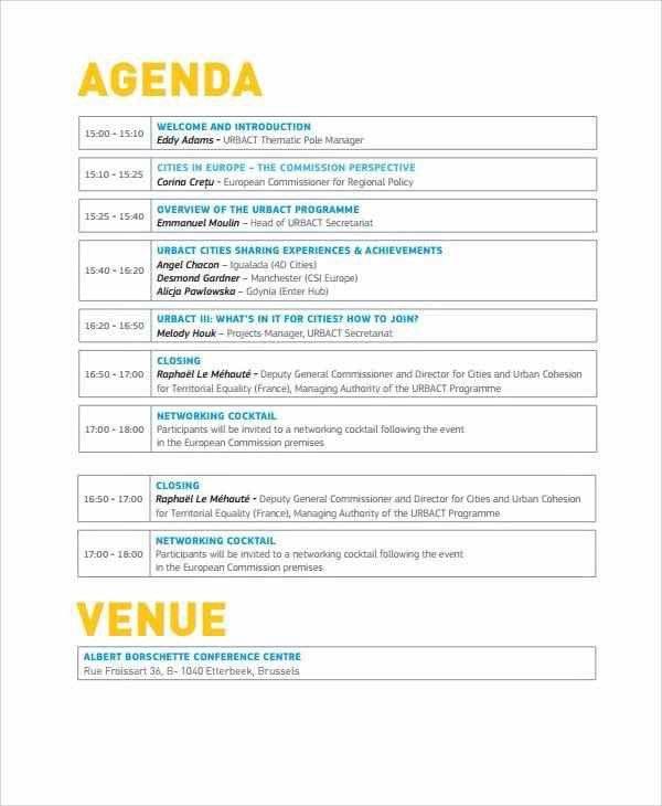 Event Agendas. Sample Wedding Event Agenda Template 10+ Event ...