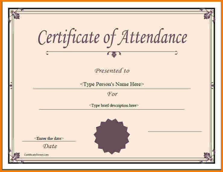 5 certificate of attendance template | Receipt Templates