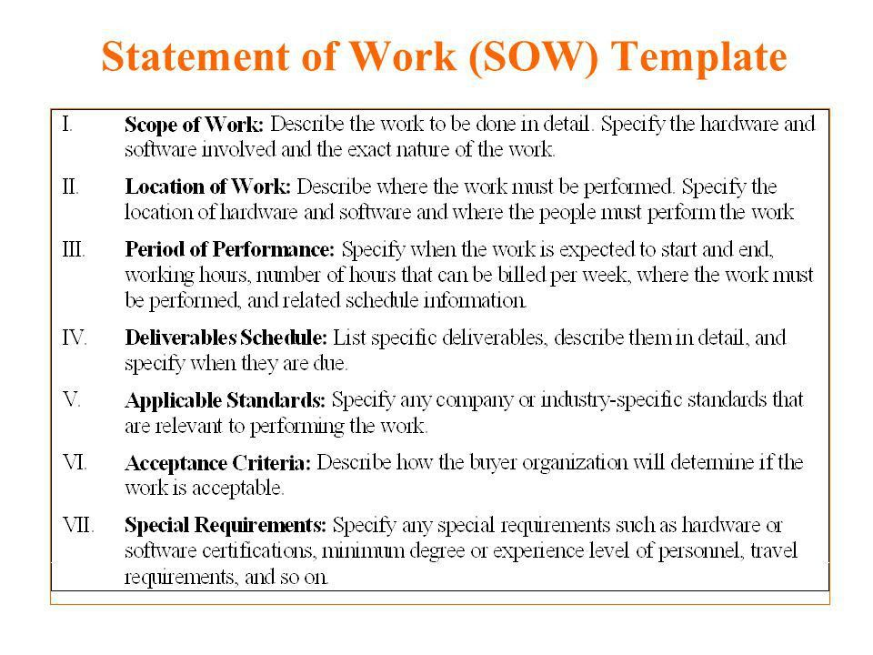 Statement Of Work Template - Best Letter Sample