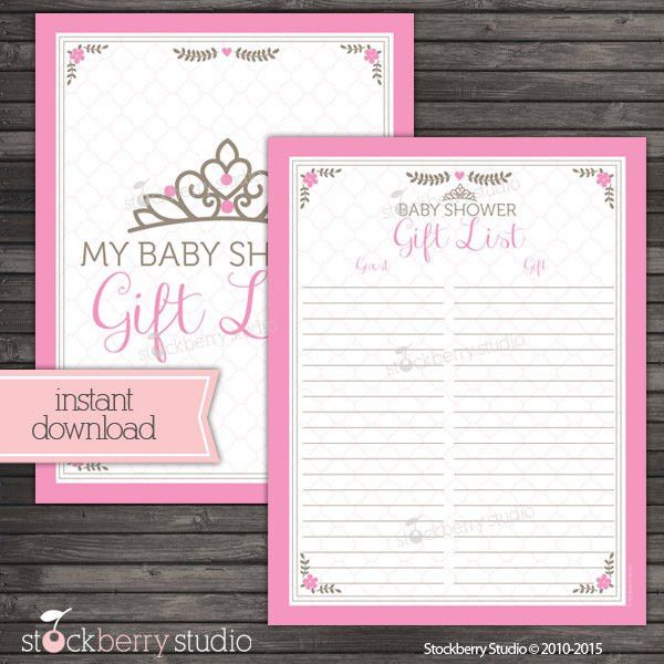 Princess Baby Shower Gift List Printable Pink Baby Shower