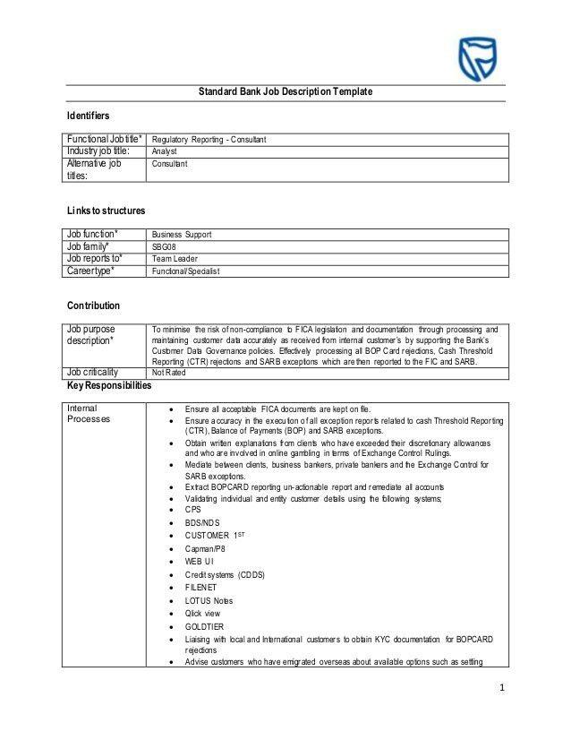 Standard Bank Job Description Template- Regulatory Reporting