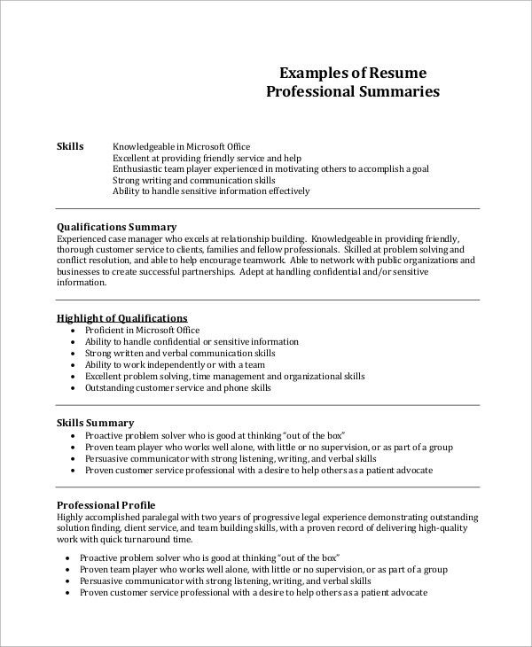 resume summary example 8 samples in word pdf