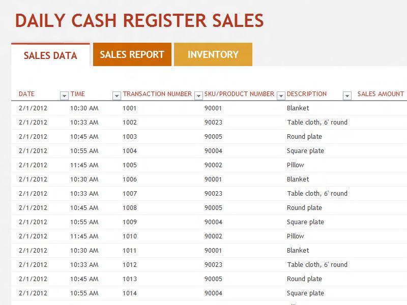 daily sales report format