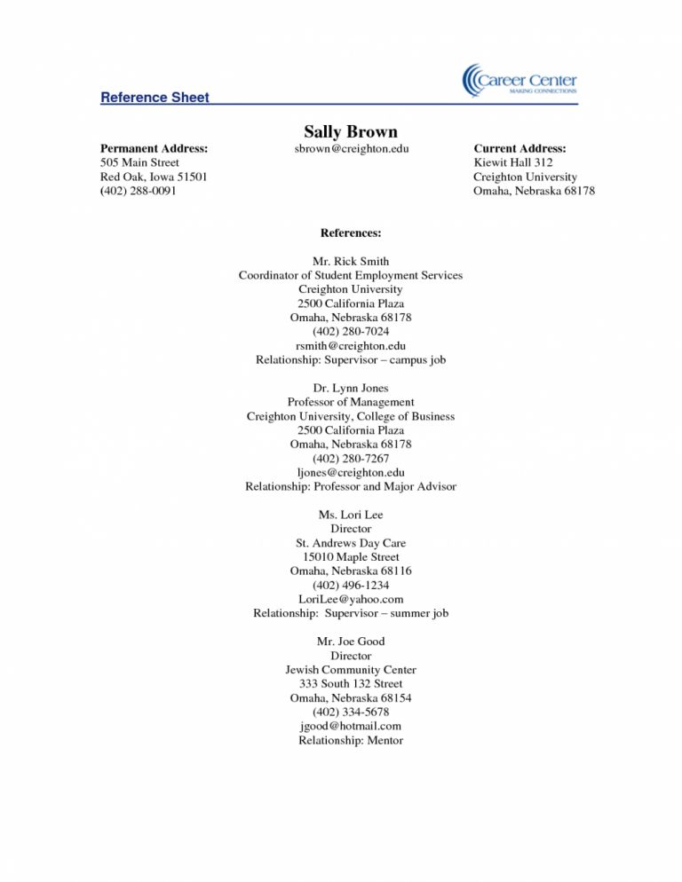 Crafty Design Resume Reference Page Template 14 References Sheet ...